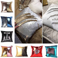 Mermaid Sequin Pillow Magical Color Changing Throw Pillow Cover Cushion Decorative Pillowcase