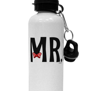 Matching Mr and Mrs Design - Mr Bow Tie Aluminum 600ml Water Bottle by TooLoud