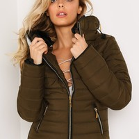 KHAKI FITTED QUILTED PUFFER JACKET