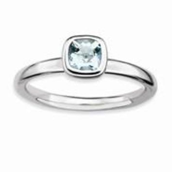 Sterling Silver Cushion Cut Aquamarine Ring