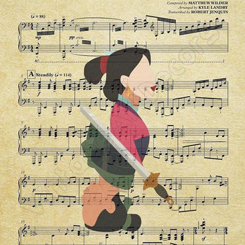 Mulan Disney Music Sheet Art Print-I'll Make A Man Out Of You-Disney Gift-Mulan Gift-Kids Decor-Disney poster-Nursery-Mulan Print-Girl Gift