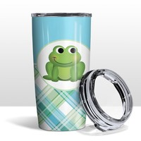 Adorable Frog Green Blue White Plaid Pattern 20oz Insulated Tumbler Cup