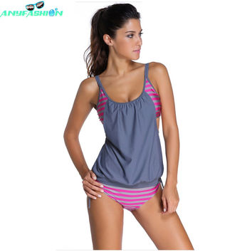 2016 New  swimwear women Stripes Lined Up Double Up Tankini Top maillot de bain bathing suit swimsuit 2 pieces suits