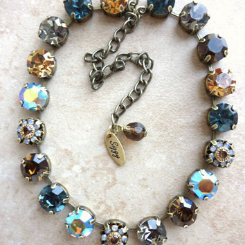 Swarovski crystal choker,11mm topaz and blue, better than sabika, GREAT PRICE