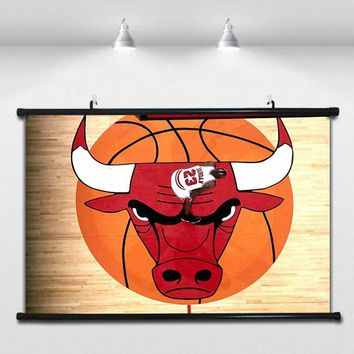 Chicago Bulls emblem NBA Basketball Poster Wall paintings Wall Sticker Banners Hanging Waterproof Cloth Art Decor 40X60 CM