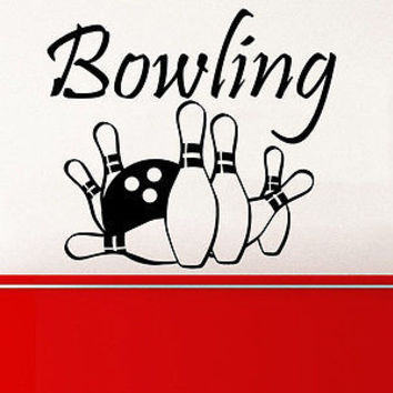 Bowling Wall Decal Sports Entertainment Skittle Wall Decals Vinyl Stickers C222