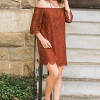 Sweet Surprises Rust Orange Off The Shoulder Dress