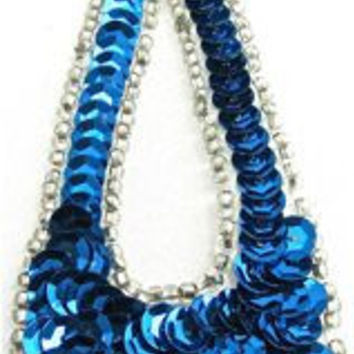 """Designer Motif Large Teardrop with Royal Blue Sequins and Silver Beads 1.5"""" xv 4"""""""