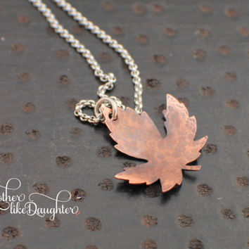 Hammered Copper Leaf Necklace - Oxidized and Polished - Nature - Simple Valentine's Day