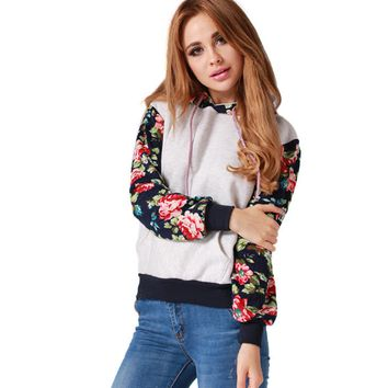 Casual Floral Print Long Sleeve Front Pocket Hooded Jacket
