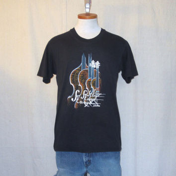 Vintage 1988 STRINGS MUSIC GRAPHIC Instruments Symphony Soft Black Medium 50/50 T-Shirt