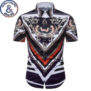 Mens Hipster Gold Floral Print 3D Shirt Men 2018 Luxury Brand Baroque Style Dress Shirts Men Summer Short Sleeve Shirt Male 3XL