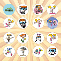 DEXTER'S LABORATORY Set of 16 - 1 Inch Pinback Buttons or Magnets