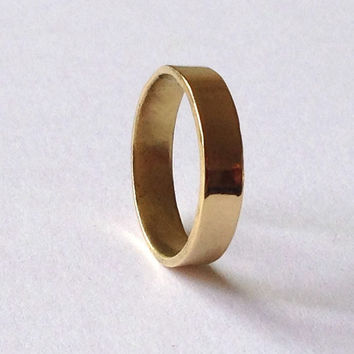Yellow Gold Flat Wedding Ring Solid 18 Carat Polished Finish Simple Plain