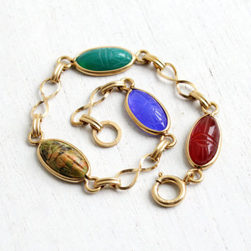 Vintage 12k Yellow Gold Filled Scarab Bracelet - Retro 1960s Carved Colorful Lapis, Chrysoprase, Egyptian Revival Jewelry Hallmarked Bojar