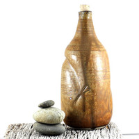 Ceramic Decanter Wine Oil Vinegar Sake Handmade Pottery Carafe Rustic Brown Bottle Tableware