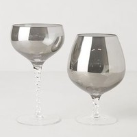 Smoked Glass Stemware by Anthropologie Silver Coupe Stem House & Home