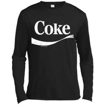 Coca-Cola Vintage White Coke Logo Graphic  Long Sleeve Moisture Absorbing Shirt
