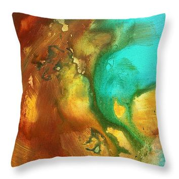 """Abstract Art Colorful Turquoise Rust RIVER OF RUST I by MADART Throw Pillow 14"""" x 14"""""""