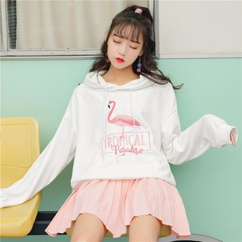 KPOP BTS Bangtan Boys Army autumn 2018 winter korean fashion  harajuku hoodies personality sweet animal embroidery flamingo letters white sweatshirt wom AT_89_10