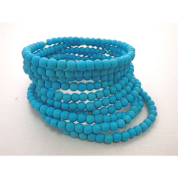 Beaded Bracelet. Turquoise Stackers