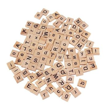 100PCS/1Pack Wooden Alphabet Scrabble Tiles Black Letters & Numbers For Crafts Wood