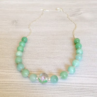 Green Amazonite Necklace Green Stone Ombre Necklace With Pink Flower Bead Dainty Romantic Necklace Delicate Green Pink Necklace Gift For Her