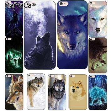 MaiYaCa Classic Cool Wolf Hipster Print Coque Shell Phone Case for Apple iPhone 7 8 Plus 6 6S Plus 5 5S X XS XR