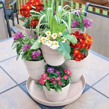 Emsco 13 in. 3-Tier Resin Flower and Herb Tower Planter in Bone White-2384-1 at The Home Depot