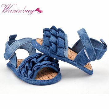 Newborn 0-18M Baby Jean Look Sandals Girl Kid Infant Soft Sole Toddler Shoes