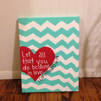 Canvas Painting - Heart - 1 Corinthians 16:14