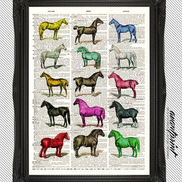 A Horse of A Different Color Equestrian Original Print on an Unframed Upcycled Bookpage