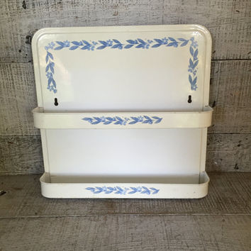 Shelving Unit Hanging Spice Rack Small Metal Shelf Hanging Two Tier Shelf Apothecary Jar Holder Wall Mount Blue and White Farmhouse Chic