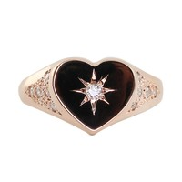 14kt gold and diamond vintage Heart Starburst signet ring – Luna Skye