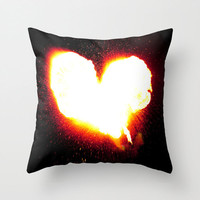 Heart of Fire Pillow Cover, fine art photography, love, romantic home decor, Valentine's Day gift, firebreath, black, orange, white