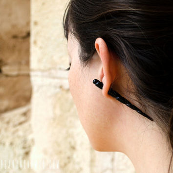 Spike Earrings Fake Gauges Unicorn Earrings Talon Narwhal Tribal Buffalo Black Horn Organic - FG065 H ALL