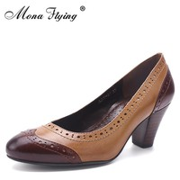 2017 Women Shoes Genuine Leather Women Office Shoes  Round Toe High Heels women Dress Shoes for Women Plus Size Shoes A205-A1