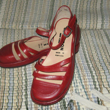 vintage red leather  Mary Janes Giraudon  sandal  shoes made portugal  sz 36 1/2
