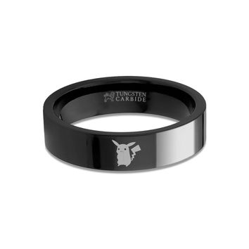 Pokemon Pikachu Laser Engraved Black Tungsten Wedding Ring