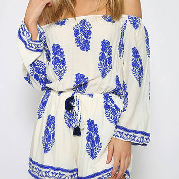 White Leaf Print Off-the-shoulder Romper