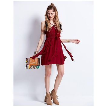 Burgundy Cotton Sexy Club Style Festival Cami Dress