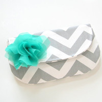 chevron clutch purse with removable fabric flower brooch / spring fashion / bridesmaid / gray white teal / mothers day