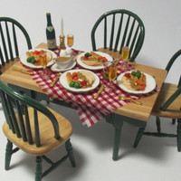 Dolls House 1:12 OOAK Country Kitchen Handmade Turkey Dinner Table Set