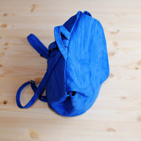 Womens / Mens Bright Blue Genuine Leather Backpack Rucksack