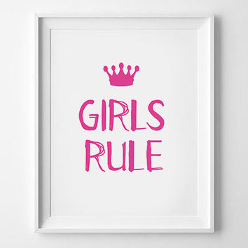 Nursery Poster, Home Decor, scandinavian art, Boys Girls, Girls Rule Kids poster, Typography poster, Print poster, Wall art, Wall decor