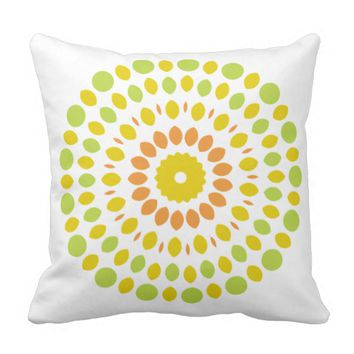 Green & Yellow Mandala Bohemian Pillow