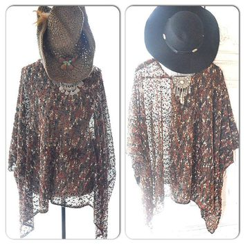 Brown boho Hippie chic batwing top, Bohemian chic festival clothes, Brown Poncho top, Gypsy cowgirl clothing, Rustic, True rebel clothing