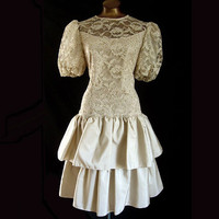 Vintage 80s Cachet Bari Protas Party Prom Dress Lace Bodice Tiered Skirt 40 B