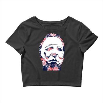 michael myers floral mask Crop Top