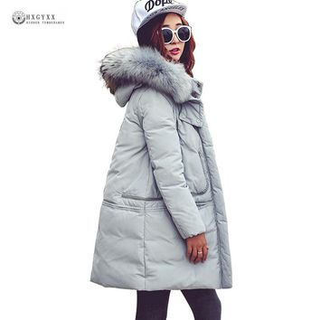 Large Fur Collar Detachable Hat Down Coat Women 2017 New Winter Jackets High Quality Pure Color White Duck Down Outerwear OK1151